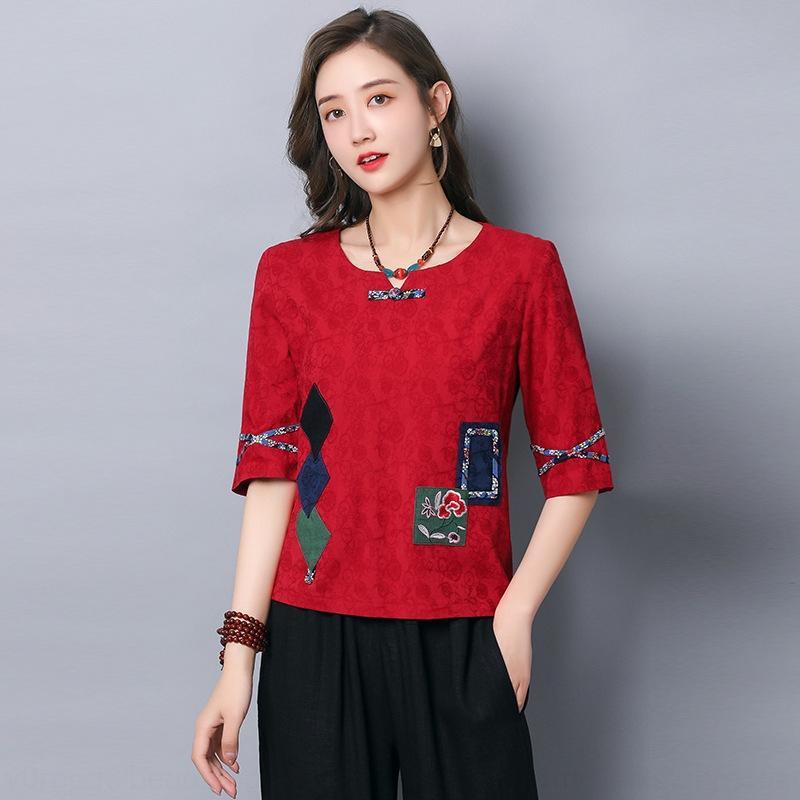 S662 cotone e canapa jacquard sciolto T-shirt da donna 2020 estate incollato Top ricamato jacquard ricamo Jacquardfive punto superiore manica W