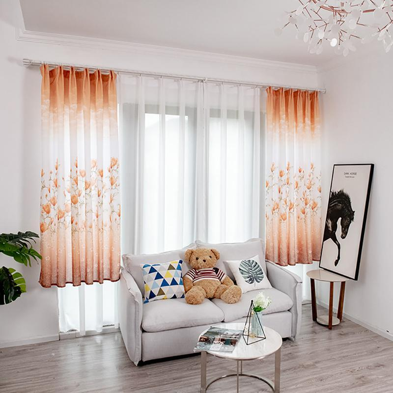 Tende corte floreali per soggiorno Tende da finestra Tulle per la cucina Sheer Voile Tenda per finestre per finestra