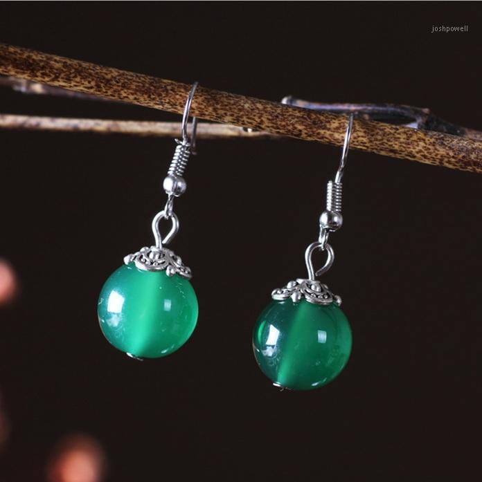 Серьги с ручкой люстры свисают, этнические ювелирные изделия халцедон камень ручной работы оригинальный Green1