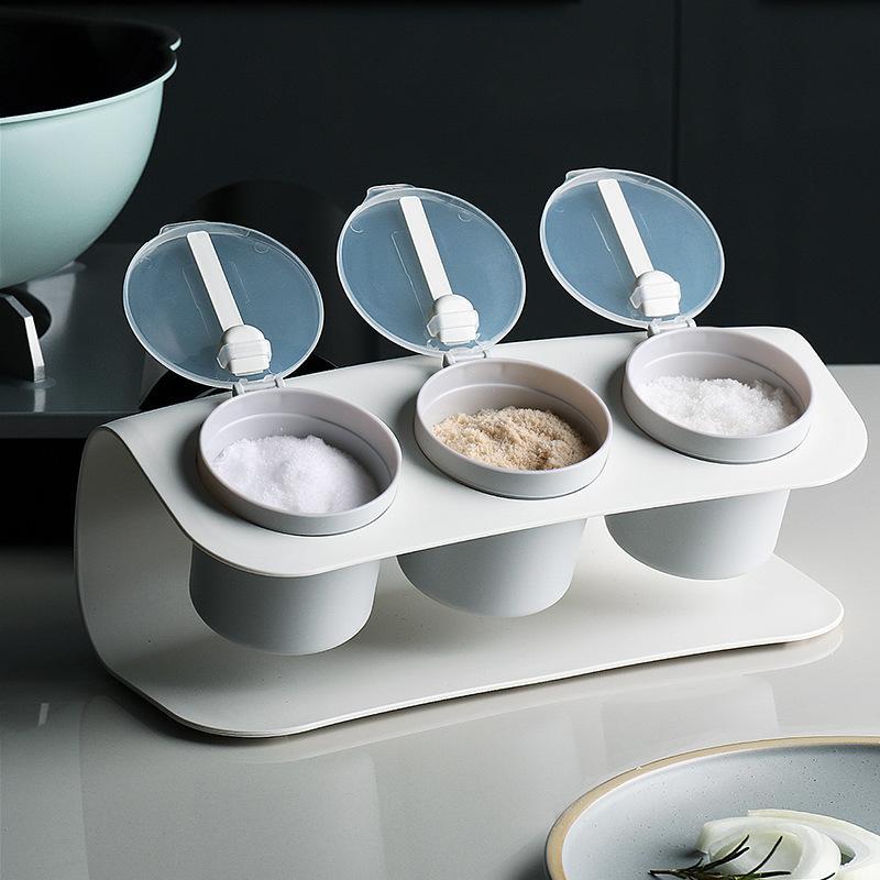 BAFFET البلاستيك سبيك رف المطبخ مربع مع ملعقة التوابل الجرار خزان تخزين التوابل للملح حلوى الفلفل توابل 201022