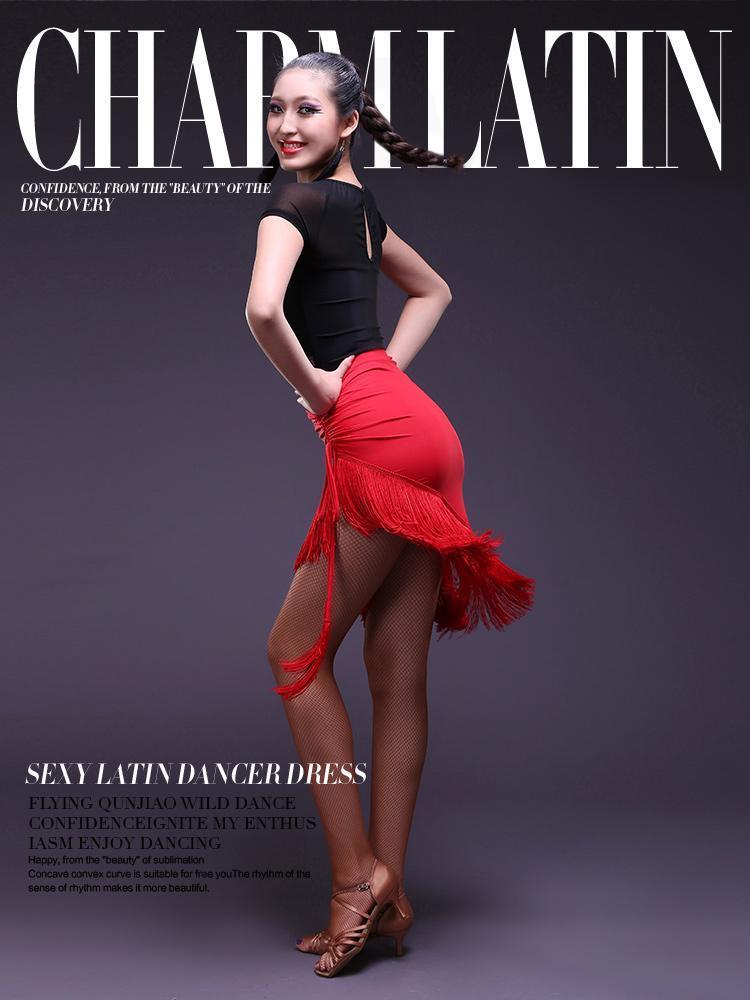 ÉTABLES À L'usure Mode Jupe Noir Femmes Vêtements de danse latine Tassel Fringe Salsa Tango 4 couleurs