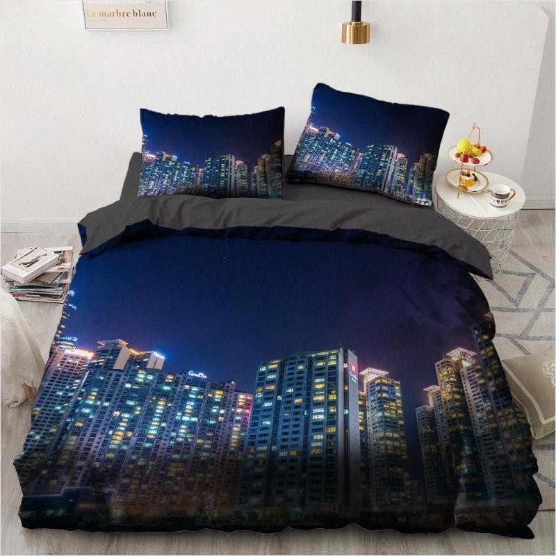 3D Design City Literie Consolateur Housse de couette couette Set King King Double Queen Size Accueil Simple Textile mxz3 #