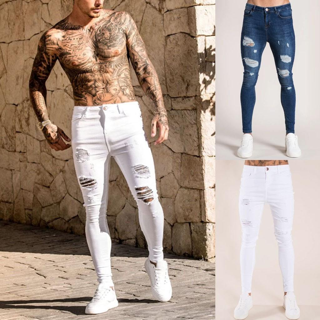 Mens solide Couleur Jeans 2020 New Fashion Slim Crayon Pantalons Sexy Casual Trou conception Ripped Streetwear Designer Cool, blanc bleu 30h