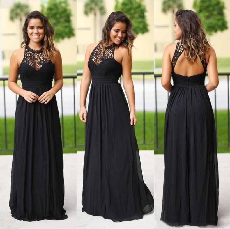 2021 블랙 레이스 저렴한 댄스 파티 드레스 선박 넥 섹시한 중공 백 바닥 길이 시폰 긴 파티 가운 100 미만의 신부 거더 드레스