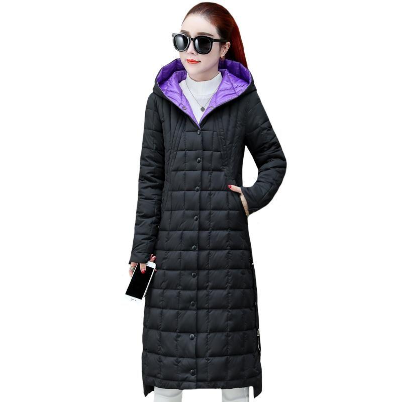 Femme X-Longue Jacket Hiver Hiver Femme Parkas 2020 Bureau Dames Outwear Simple Simple Brott Crotche Haute longue Qualité