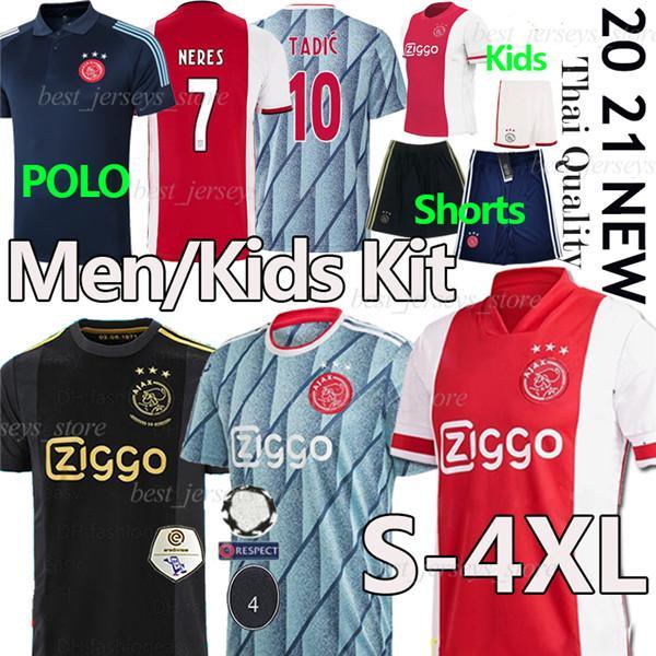 2020 21 أمستردام FC AJAX لكرة القدم بالقميص 4XL تاديتش BLIND PROMES NERES كرويف MEN KIDS KIT POLO السروال قميص 50 لكرة القدم الزي الرسمي سروال