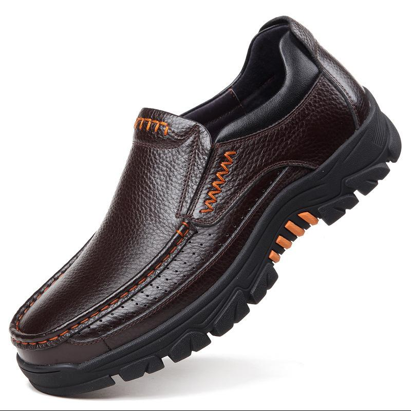 Genuine Leather Shoes Men Loafers Soft Cow Leather Men Casual Shoes New Male Footwear Black Brown Slip-on A2088 201008
