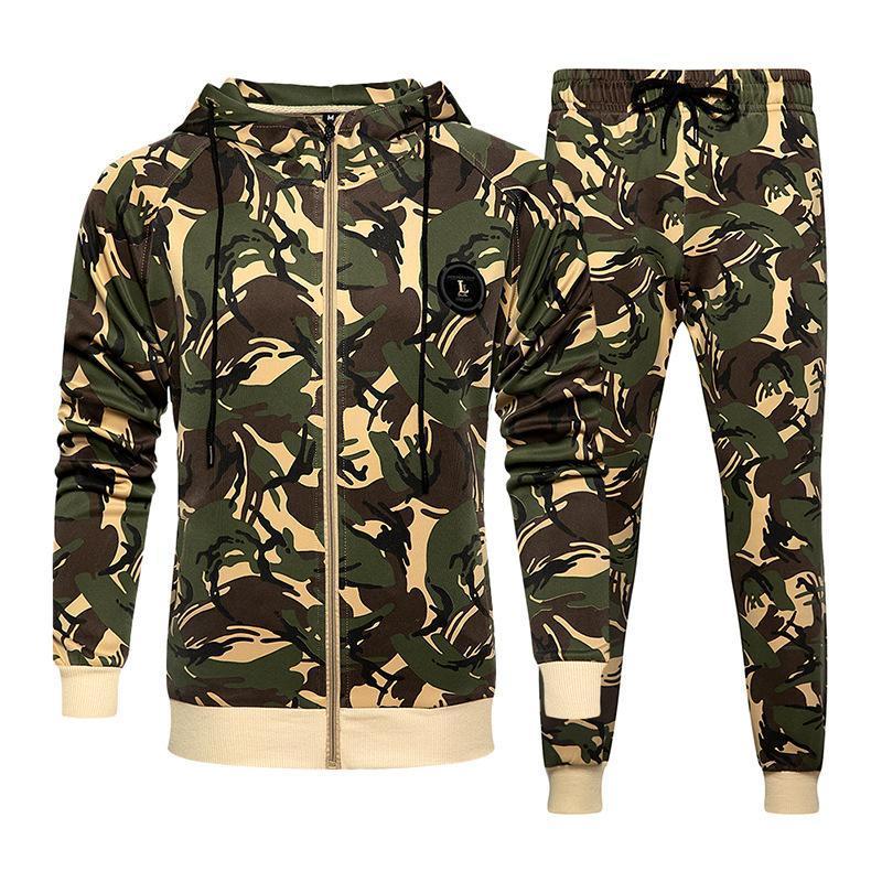 Herbst New Camouflage Sport Anzüge Herren Hooded Zipper Strickjacke Jogginghose zweiteilige Sportkleidung beiläufige Jogger Anzug