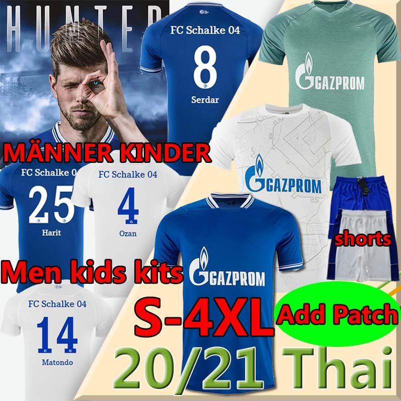 4XL Schalke 04 Футбол Джерси Хунлаар Bentaleb Kutucu 2020 2021 FC Schalke Jerseys Raman Hoppe Harit Uth Skrzybski Men Футбольная рубашка Брюки