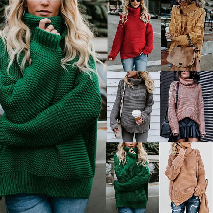سلحفاة الرقبة البلوز البلوزات النسائية الصلبة اللون طويل فضفاض كم الالبسة أزياء الخريف الشتاء عارضة سميكة دافئ ملابس للسيدات
