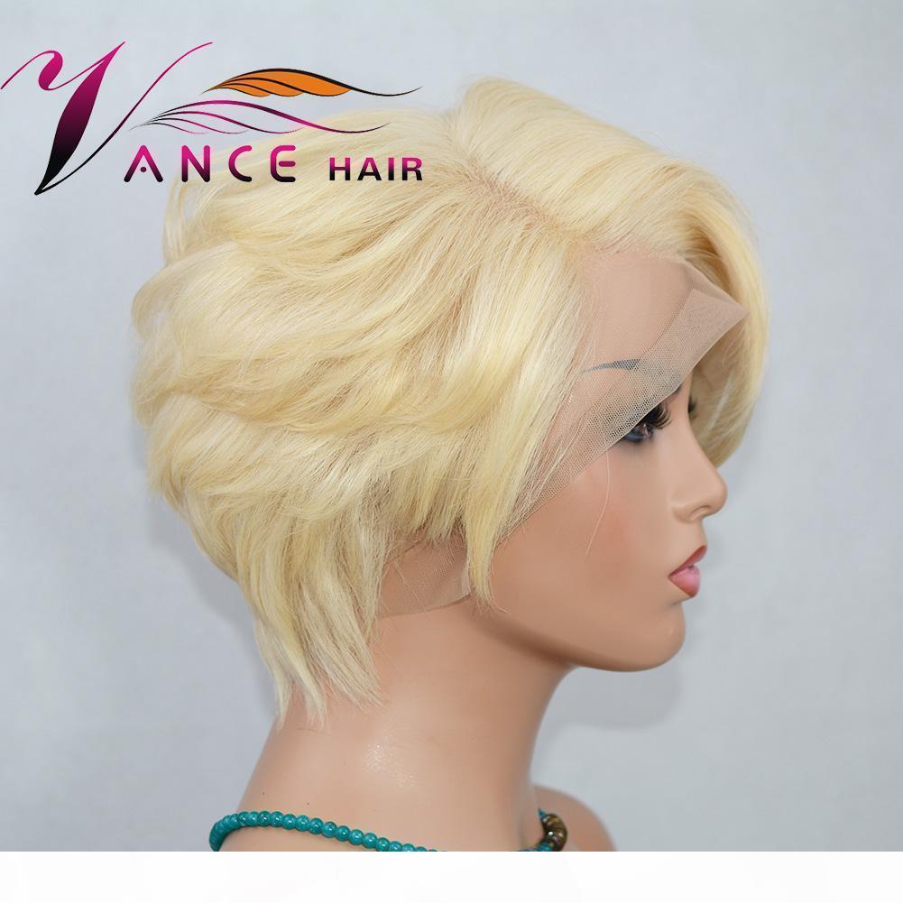 Vanchair 613 # Tam Dantel İnsan Saç Kısa Dalgalı Peruk Kısa İnsan Saç Pixie Kesim Katmanlı Bob Peruk