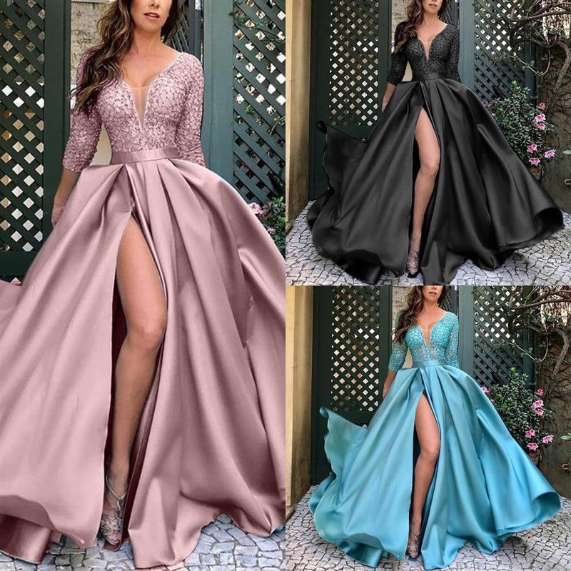 2ed1 New Backless Mermaid Lace Sexy con cuentas vestidos de baile Sweetheart Prom Sweep Sky Wee Designer para hombre tren Vestido satinado Luz Azul Azul