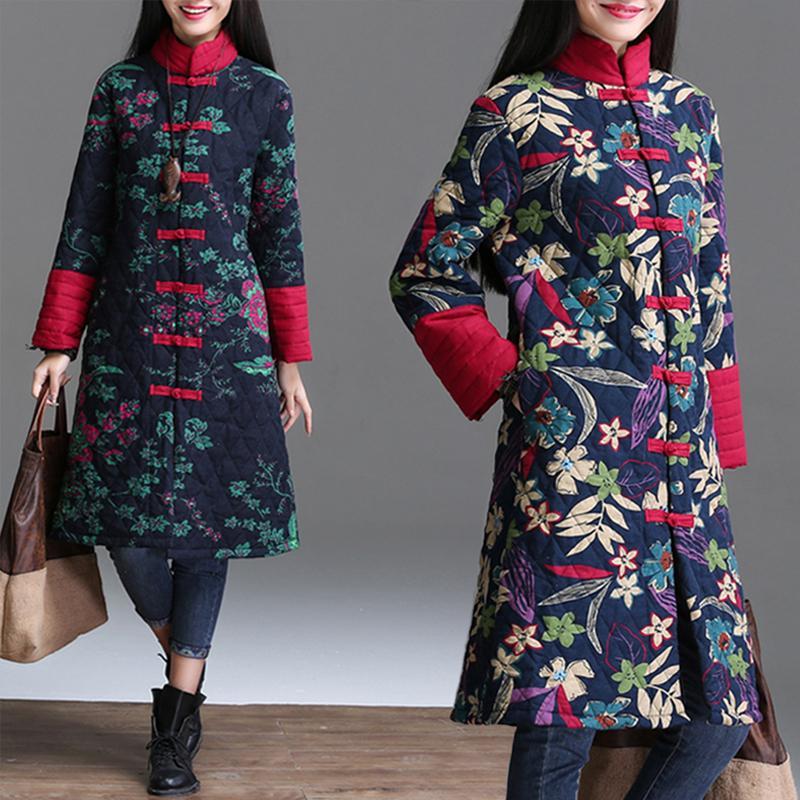 Rouge chinoise Floral femmes hiver chaud Veste longue Vintage Manteau matelassé Femme fleur bleue d'hiver matelassée Mesdames parka coupe-vent 201014
