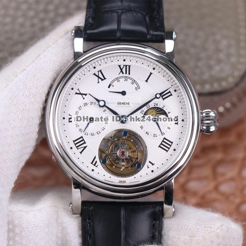 Mejor Calidad Axf 42mm Complicaciones Acero Inoxidable Verdadero Tourbillon Mens Reloj Automático Hombre Dial Blanco Correa de cuero Gents Relojes deportivos