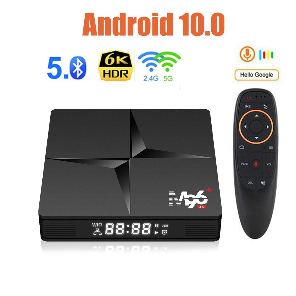 NOUVEAU 4GB RAM 32GB ROM M96 + Android 10.0 TV Box Voice Remote RK3318 Quad-Core double WiFi Smart Media Player vs h96 max