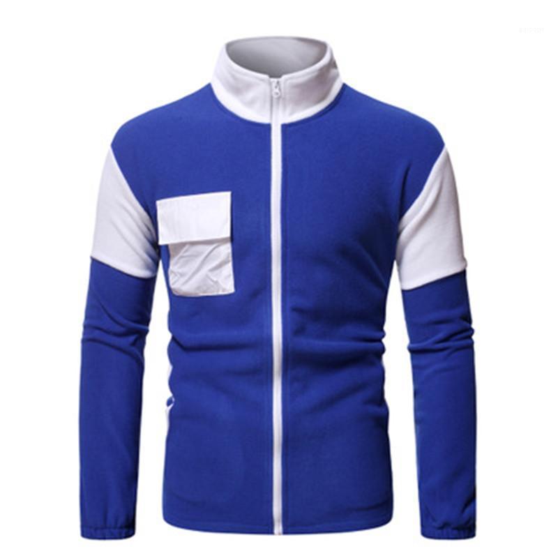 Patchwork-Langarm Sweatshirts Fashion Trend Stehkragen Zipper Tops Designer Male Multi-Tasche beiläufige Strickjacke Sweatshirts Man