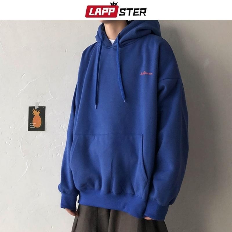 Lappster Men Solid Fleece Streetwear Overseized Hoodie Fall 7 Colores Harajuku Sudaderas con capucha con capucha con capucha Más Tamaño Y201123