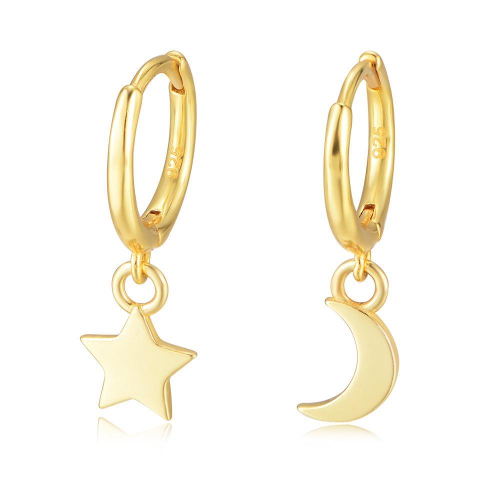 Звезда Луна Hoop Huggie Серьги Ювелирные Изделия 14K Желтое Позолоченное 925 Стерлинговое Серебро Для Женщин Партия Подарок