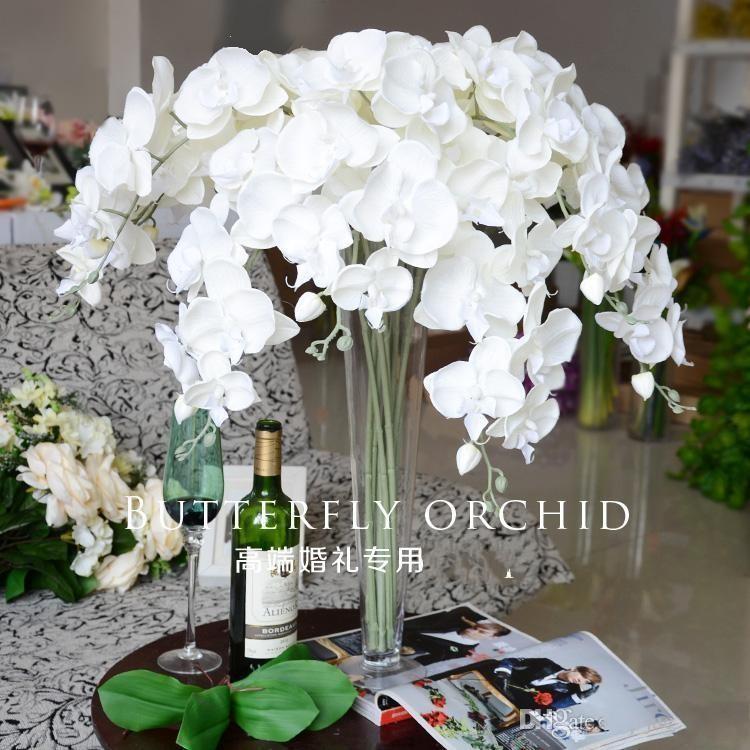 Ramo de la boda de la orquídea mariposa Novia Ramo de flores artificial para la boda decoraciones de flores 10pcs