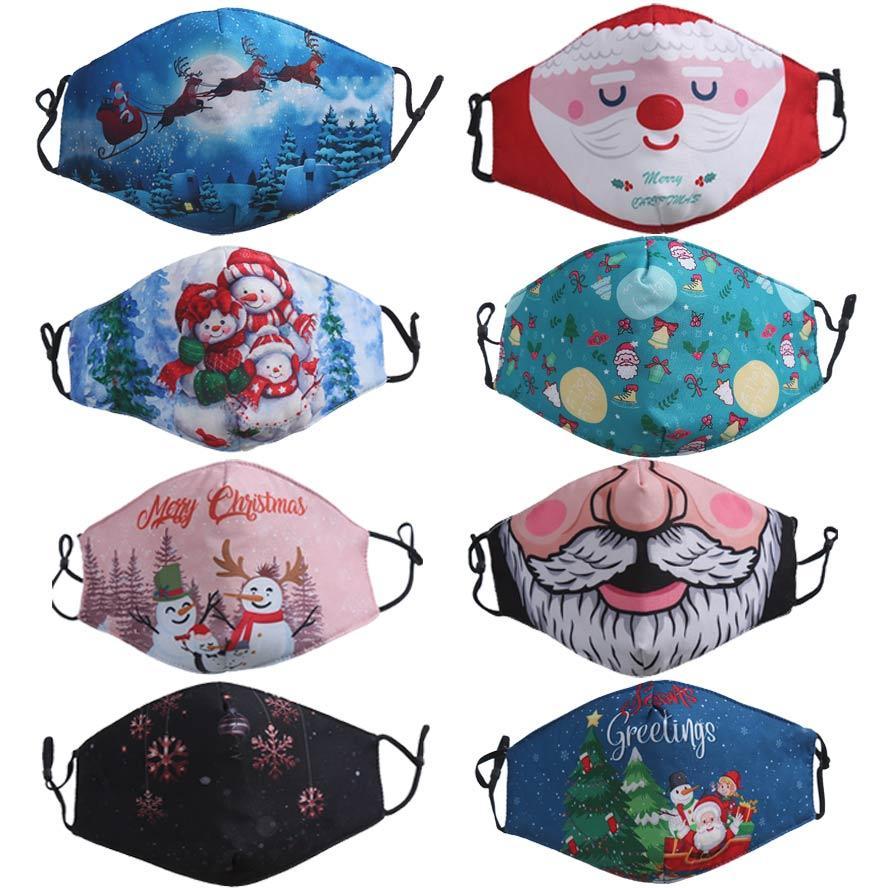 masque de visage Joyeux Noël Père Noël barbe bonhomme de neige chanceux cerf Fahion masques garçons adultes filles Impression 3D antipoussière masque facial
