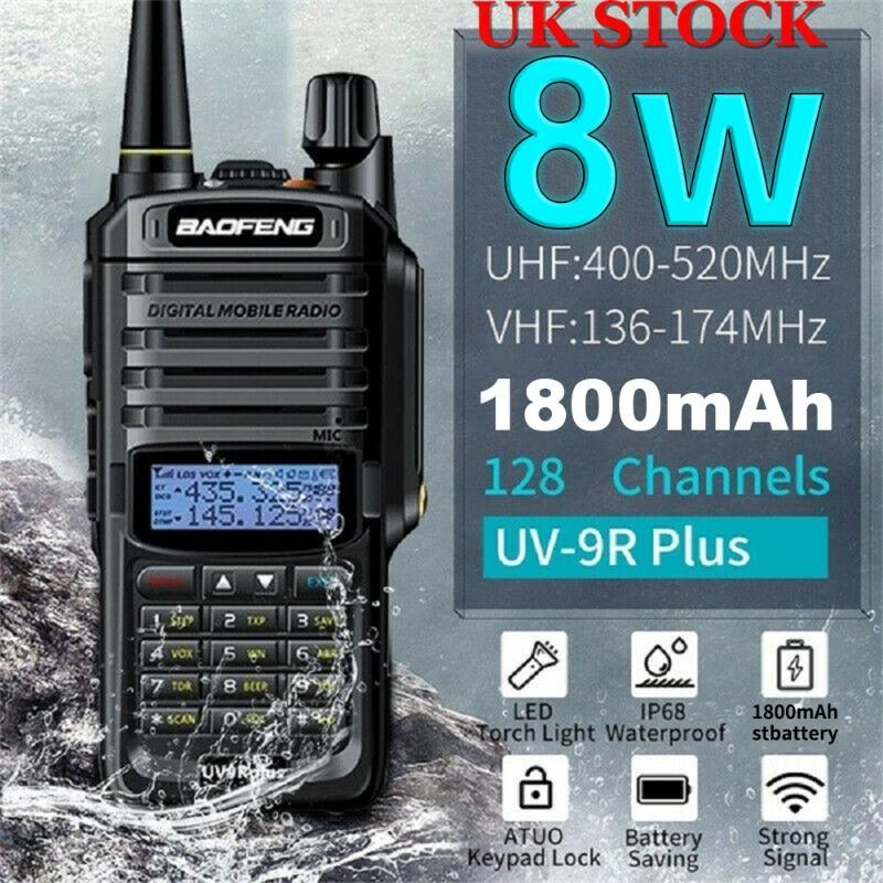 Walkie Talkie Baofeng UV-9r Plus 8W IP67 방수 VHF UHF 휴대용 듀얼 밴드 핸드 헬드 양방향 라디오 1800mAh 배터리 EU / US 플러그