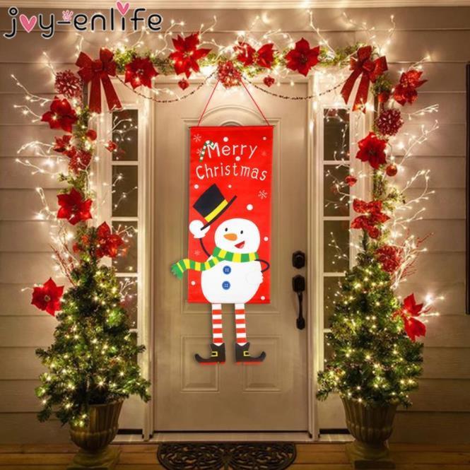 عيد ميلاد سعيد زينة للمنزل الحلي جارلاند السنة الجديدة نويل الشرفة تسجيل عيد الميلاد الباب ديكور شنقا القماش نافيداد هدايا