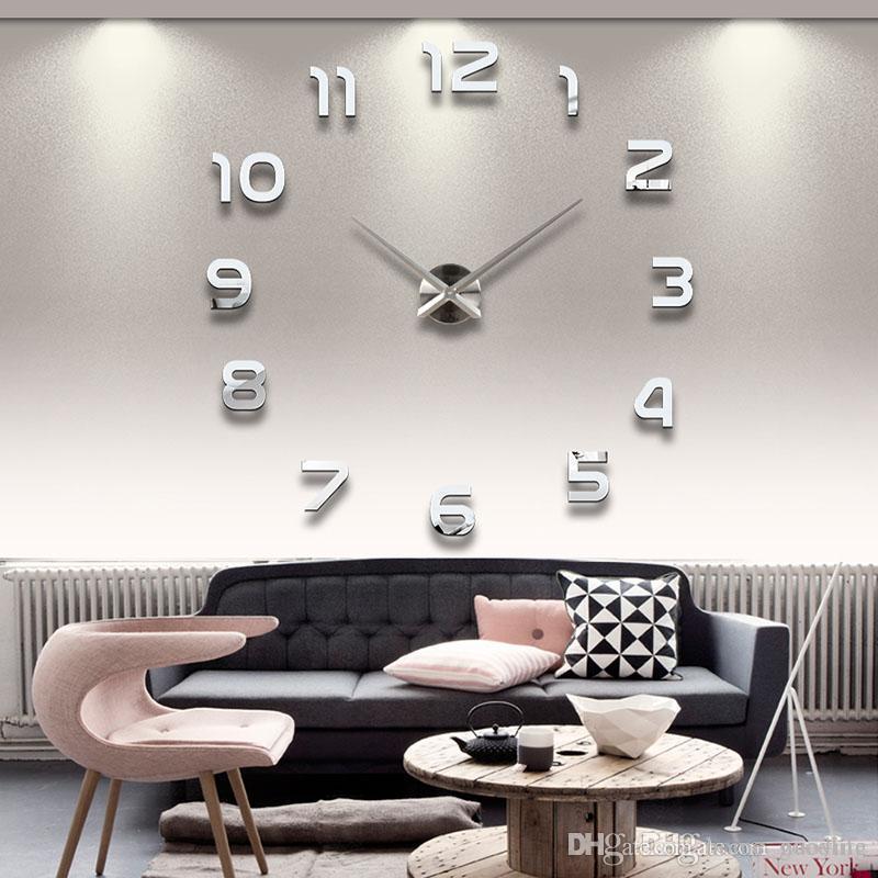 Kuvars İğne işaretçi yeni satış duvar saati saatler 3d diy Akrilik ayna Çıkartma Kuvars Modern Ev Dekorasyon izle