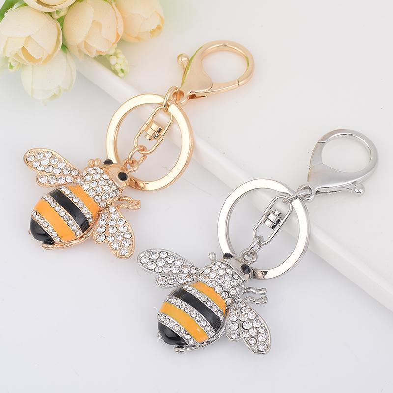 الإبداعية النحل سيارة سلسلة سبائك الزنك المعادن مفتاح الدائري هدية عيد الأزياء الراين شخصية الماس شخصية Keychain Penk7ig