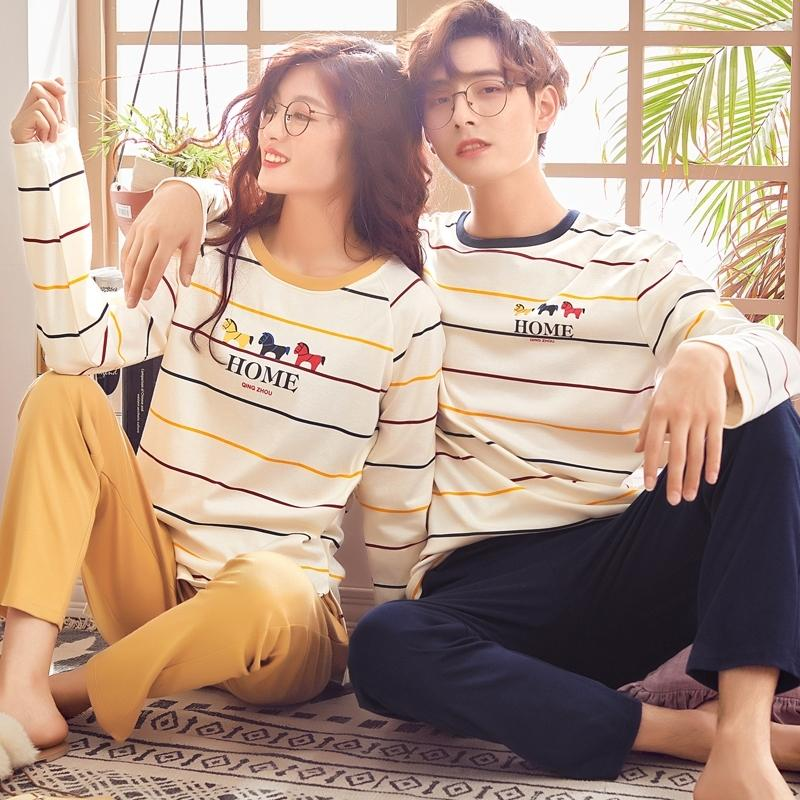 Paar Loungewear Pijama Herbst Winter Neue Mode Paare Pyjamas Männer und Frauen, die 100% Baumwolle passen, Schlafwagen Pyjama Set Paar Y200422