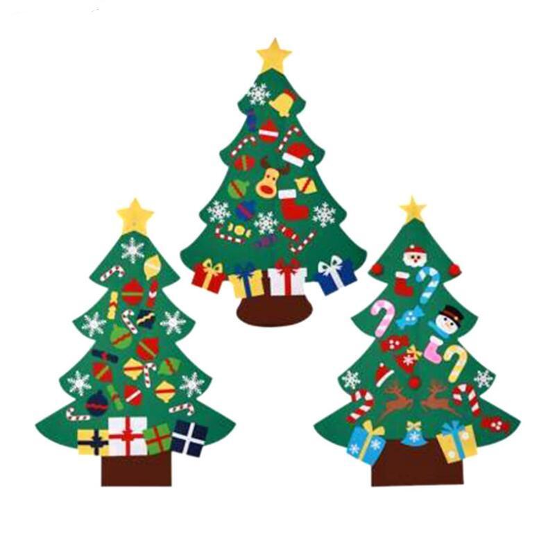 Weihnachtsbaum Mode DIY Filz mit Dekorationen Tür Wand Hanging Kids Pädagogisches Geschenk Weihnachten Tress EWD2697