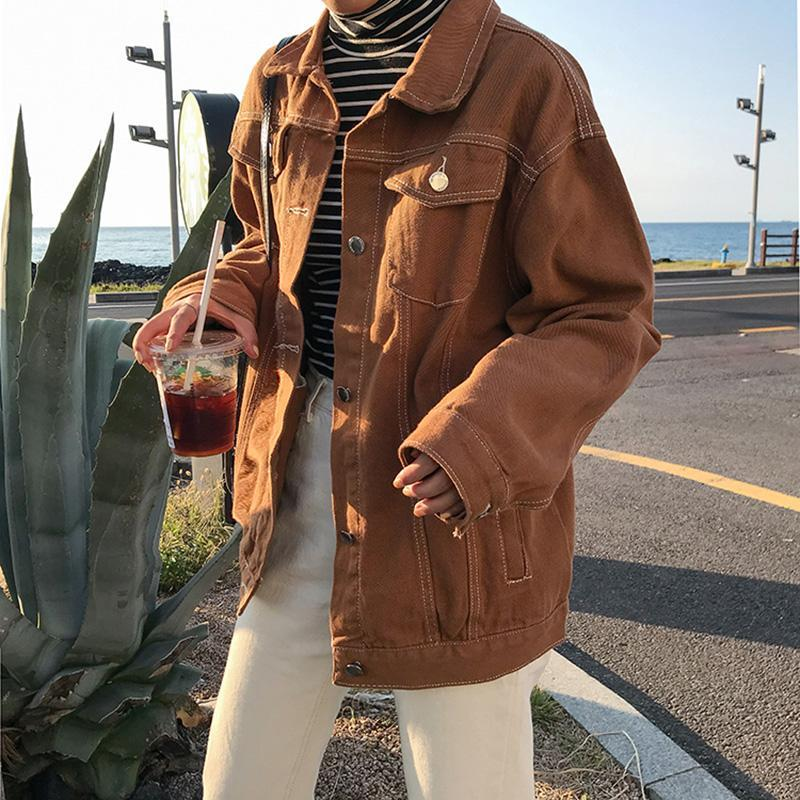 Punk Style Style Bas Basic Denim Giacche Donne Over Size Turn Down Collo Down Collo Autunno Jeans Jacket Coat Boyfriend Giacca Cappotto