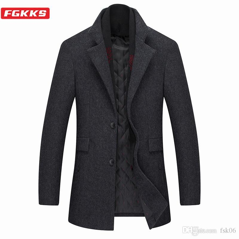 Alta qualità FGKKS inverno degli uomini di marca Lana Cappotti da uomo solido di colore cappotto doppio colletto casuale misto lana del cappotto maschile
