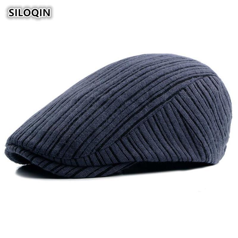 SILOQIN береты для женщин Весна Осень Мода Новый стиль Вязаная шерстяная Hat регулируемый размер Досуга Retro Мужская береты Snapback