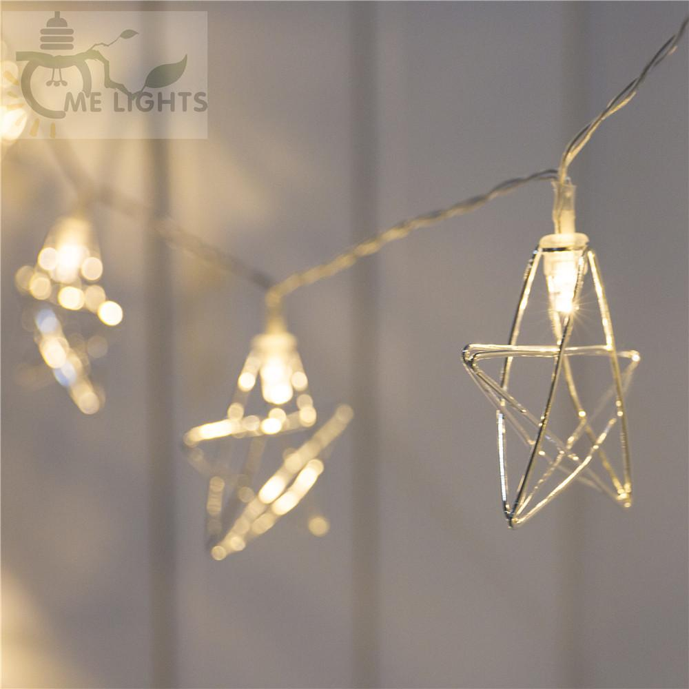 Novità LED Fata Lights 20 Metal Star String Light Battery Powered Christmas Holiday Ghirland Light per la decorazione di nozze del partito 201030