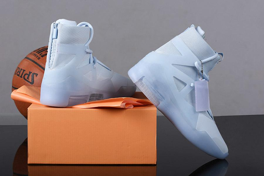 White x Fear Of God 1 Pure Platinum Vela baloncesto de los hombres zapatos de diseño zapatilla de deporte azul FOG 1 Apagado del diseñador del Mens con la caja Trainer
