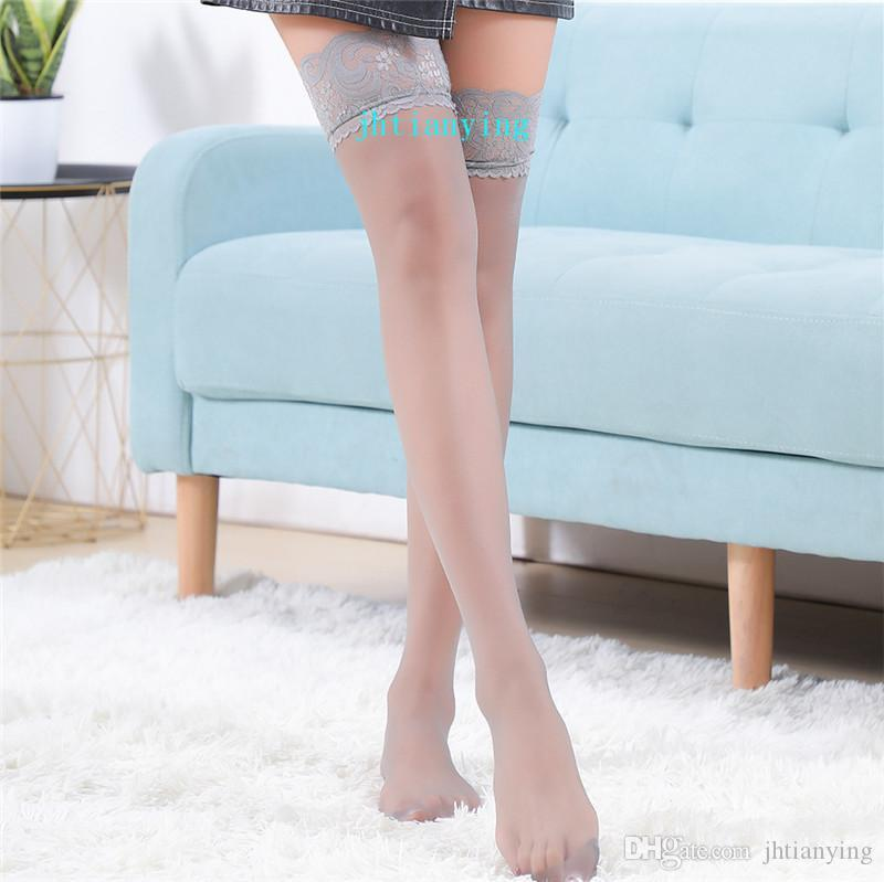 Solid Color Lace See Through Stockings Sexy Socks Suspender Pantyhose Tight Stockings Underwear Women Clothes Black Red Purple White Etc