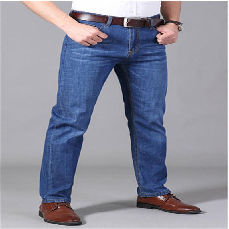 Erkekler Rasgele Bussiness Distrressed Pantolon Fermuar Fly Yeni Siyah Moda Jeans Erkek Uzun Düz Pantolon için kot pantolon
