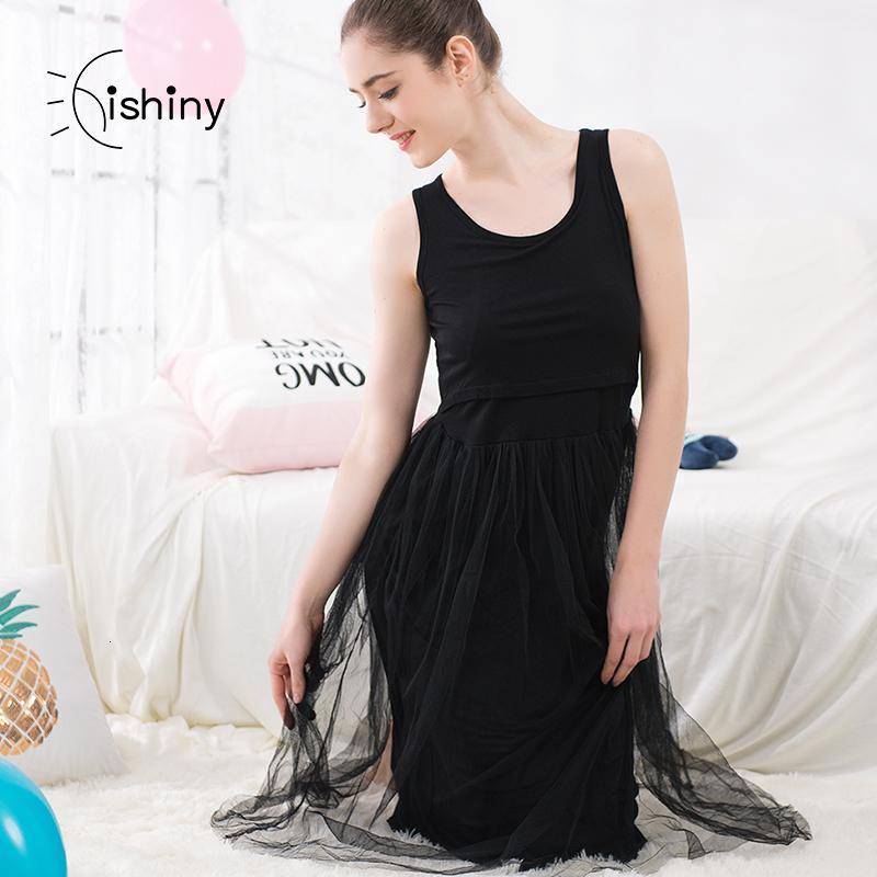 Schwangere Sommer Mutterschaft Short Sleeve Laktation Mantel Stillen und stillende Frauen Kleider Chiffon Spitzenkleid