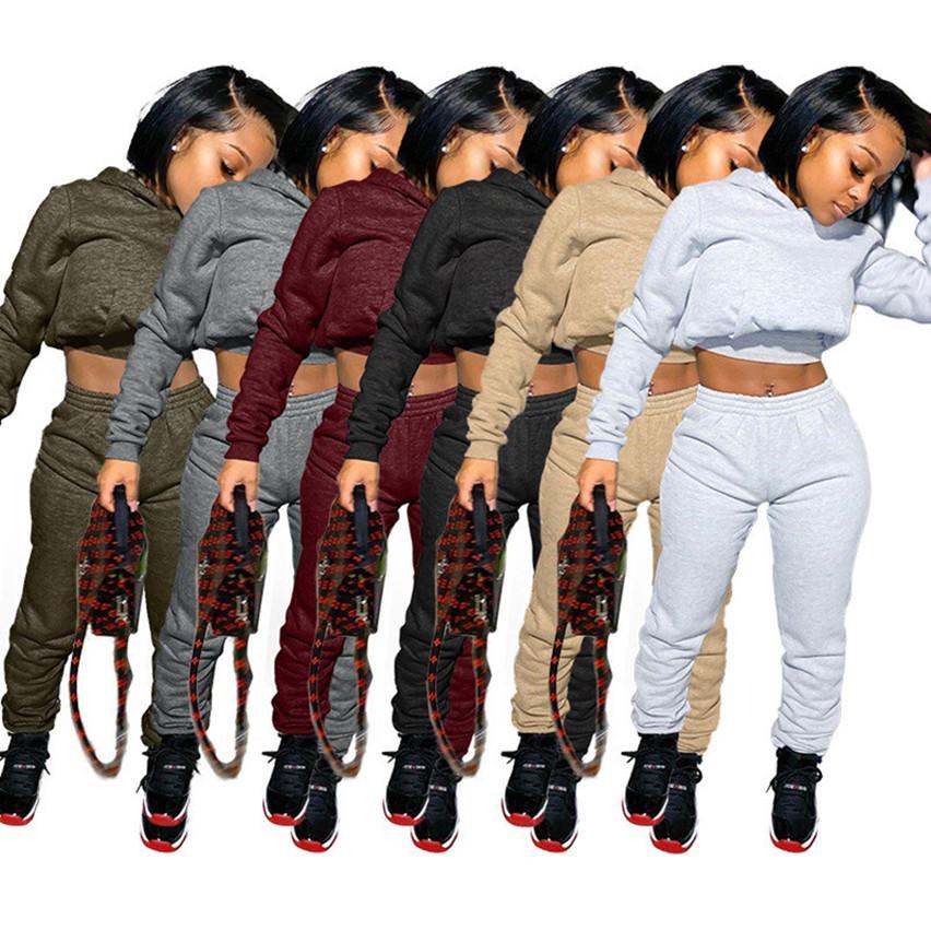 Les femmes de couleur unie à capuche capuche Tenues Leggings S-2XL survêtements pantalons pull-over Survêtements sports d'automne de vêtements hiver jogger costumes 4072