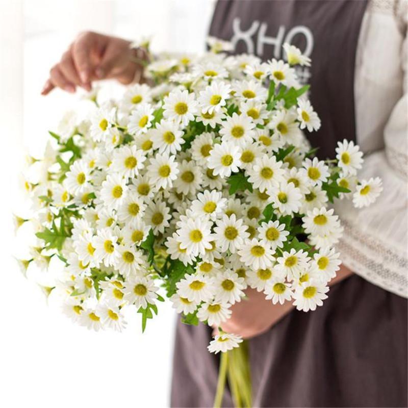 """Sahte Uzun Kök Daisy 23.62 """"Uzunluk Simülasyon Bahar Papatya Düğün Ev Dekoratif Yapay Çiçekler Için"""