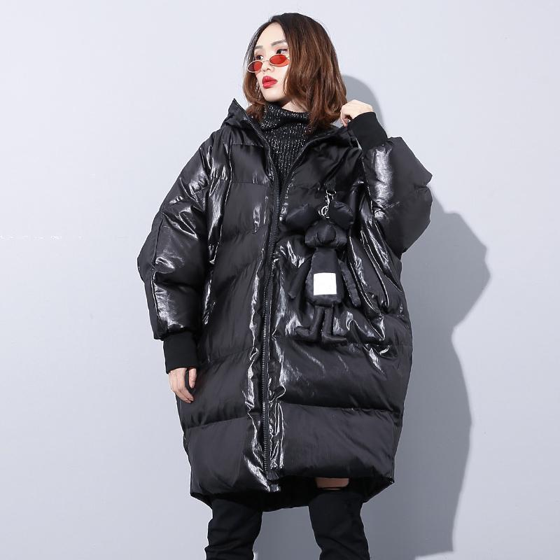 Aşağı Kapüşonlu Parka Kadın Kore Bayanlar Yastıklı Ceket Kabarcık Parlak Kapitone Kirpi Ceket Kış Sıcak Rüzgarlık Moda Palto