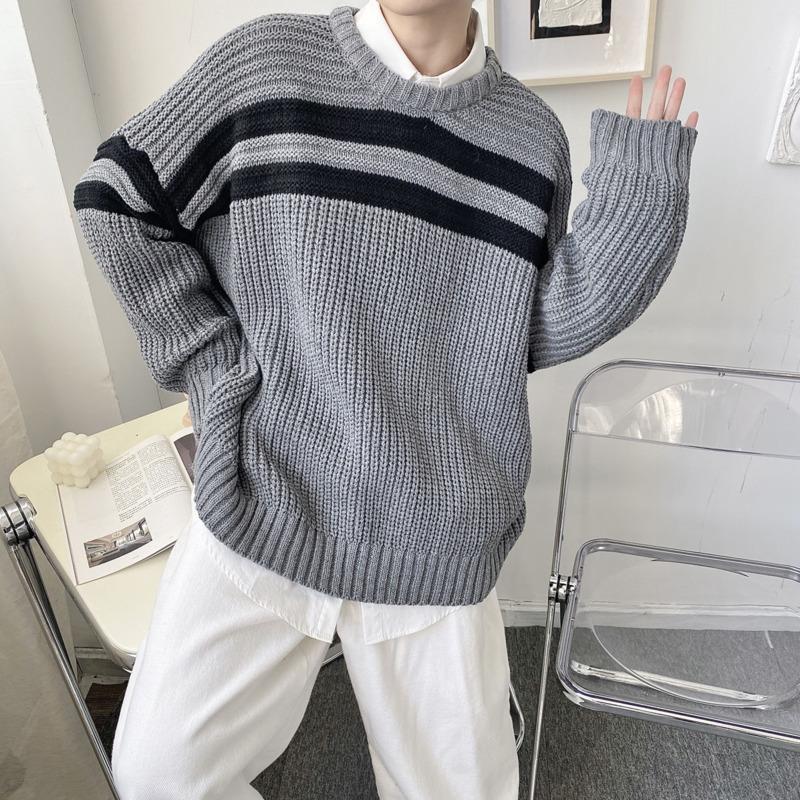 Зимний толстый свитер мужская теплая мода повседневная с шеи вязаные пуловер мужские дикие свободные корейские негабаритные свитеры мужская одежда M-XL