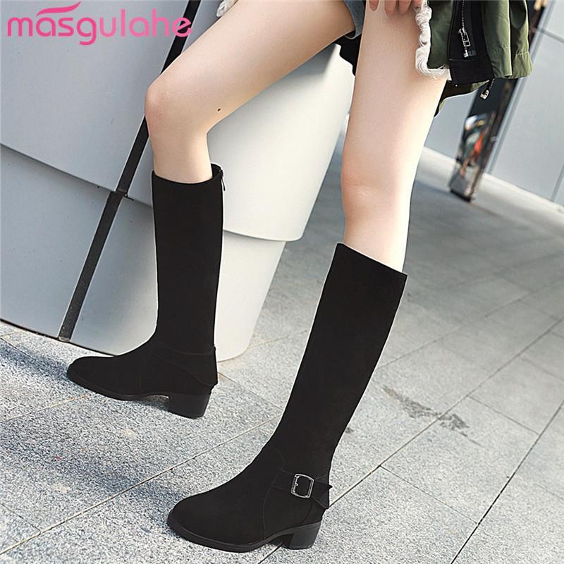 Masgulahe Plus Talla 34-43 Nueva vaca Cuero de gamuza Mujeres Botas de mujer Square Tacón de rodilla High Boots Cuadrado Talón Damas