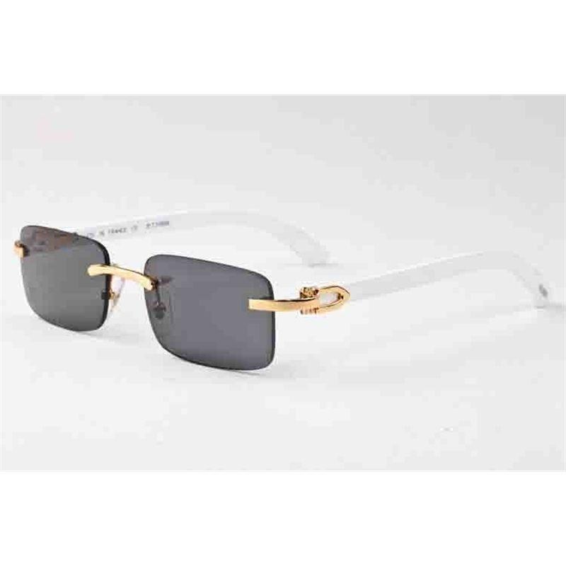 2021 Búfalo Cuerno Hombre Retro Gafas de sol Sunglases para hombre y mujer Brown Brown Lente transparente Sin marco Actitud deportiva Conducción de vidrio
