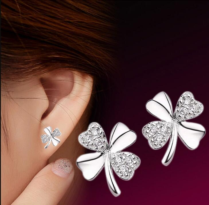 Lucky Four Clover Leaf Stud Earrings Austrian Crystal Jewelry 30% 925-Sterling-Silver New Wedding Stud ps0012