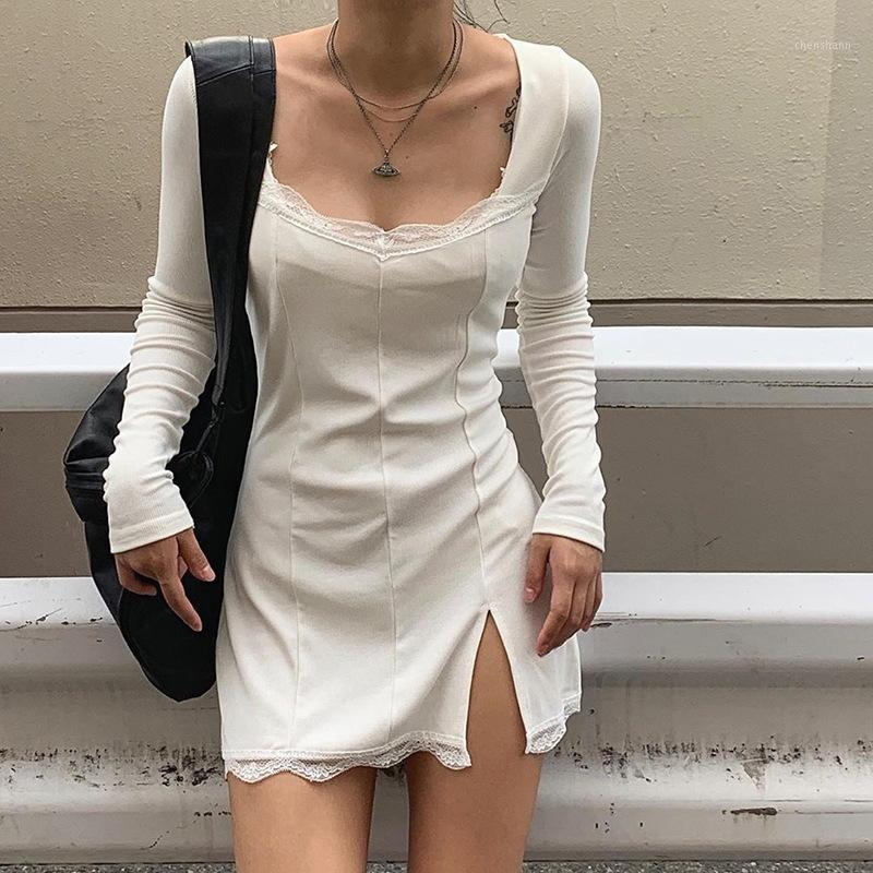 Повседневные платья 2021 осень весенние женщины сексуальные кружева пэчворк с длинным рукавом сплит платье тарелка тарелка министидовый клуб Party Club Низкая грудь наряды CL