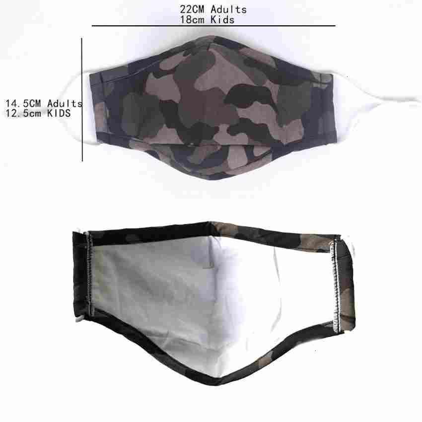 Outlet Vente chaude Enfants masque adulte et camouflage Masque de protection anti poussière PM2,5 coton lavable réutilisable Masque Visage ZZA2384