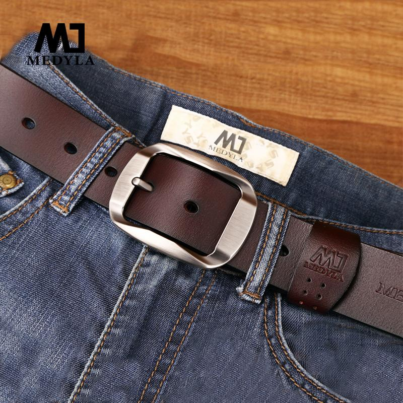 Cinto masculino de Cinto de Medidas Cinto de couro genuíno para homens cinta de marca masculino pin fivela jeans vintage cinto 110cm-125cm 201112