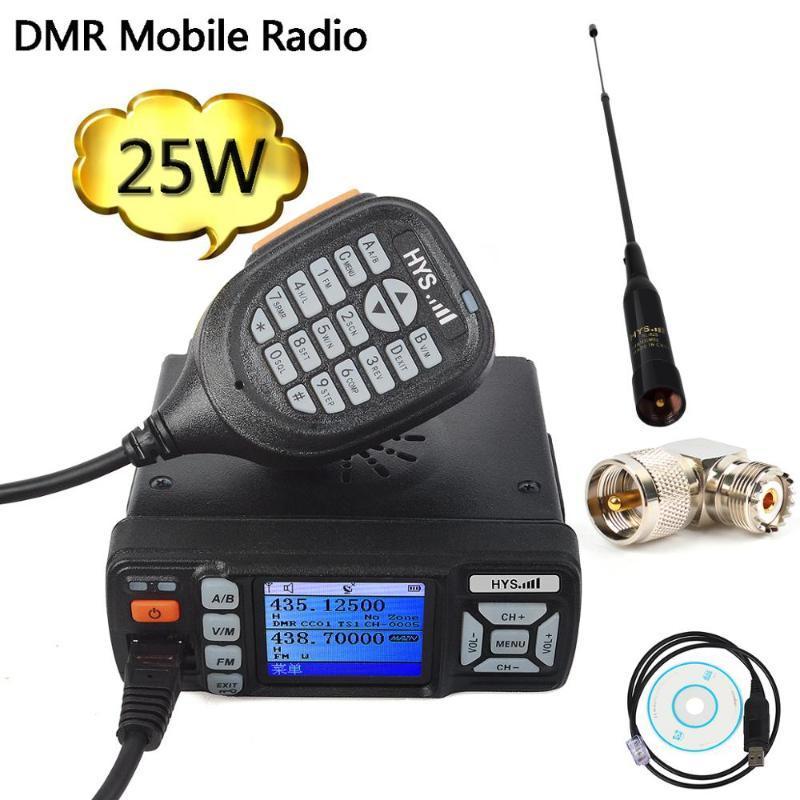 DMR Digital Car Rádio Móvel 10 km Walkie Talkie 25W VHF UHF GPS Dual Band Ham Amateur Radio Transceiver