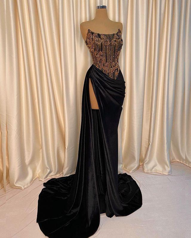 ASO EBI 2021 арабский черный сексуальные стильные вечерние платья из бисера кристаллы выпускные платья высокие разделительные формальные партии второе приемные платье ZJ256
